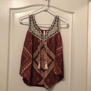 Maroon Patterned Tank Top